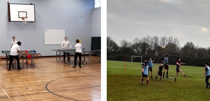 Year 8 Table tennis and Year 9 Football