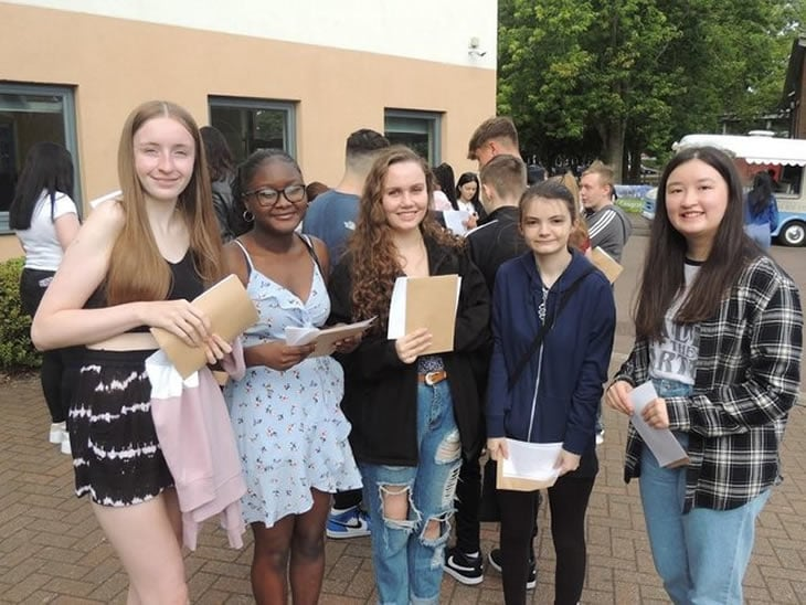 Students picking up their GCSE results