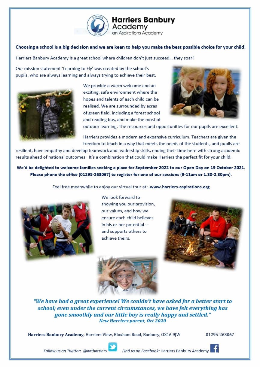 Harriers Open Day poster 19-10-21